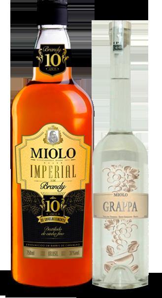 Foto das Garrafas do Brandy Imperial e da Grappa Miolo
