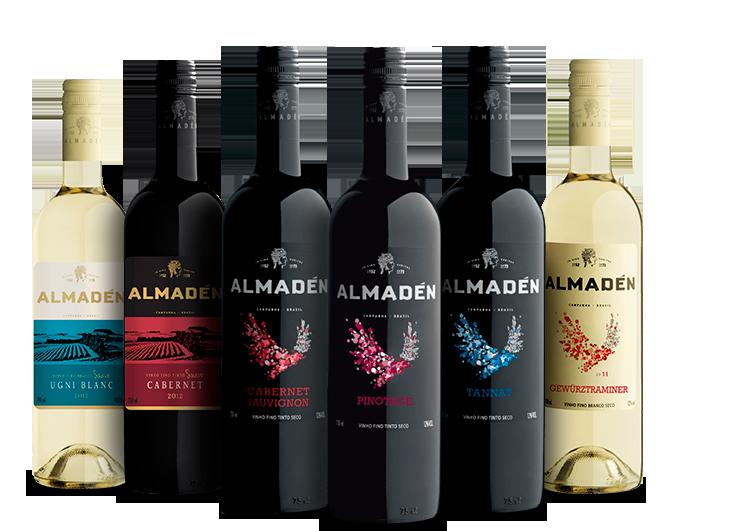 Fotos das garrafas de vinho Almadén