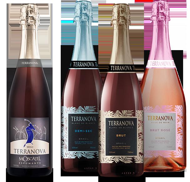 Foto de quatro garrafas dos espumantes Terranova
