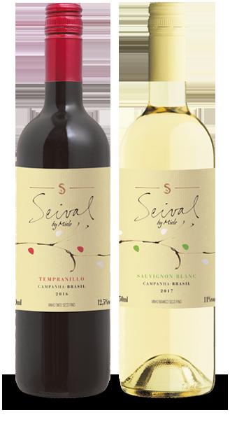 Foto das Garrafas do Vinho Seival Tempranillo e Sauvignon Blanc